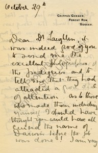 Letter from Leonard Darwin to Harry Laughlin, Dated October 29 [c. 1932]